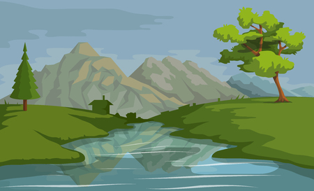 Landscape with a Mountains and Trees. Nature as a background. Park elements for landscape. Hand drawn Cartoon nature. Paysage with blue sky and flower fields. Vector graphics to design Vecteurs