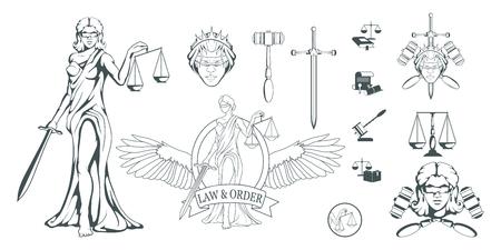 Themis - Oude Griekse godin van gerechtigheid. Hand getrokken schalen van Justitie. Symbolen van de femida - gerechtigheid, wet, weegschaal. Weegschaal en een zwaard in handen, een verband om de ogen. Vectorafbeeldingen om te ontwerpen Vector Illustratie