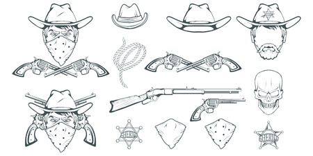 Cowboy Set for design. Hand drawn cowboy hat. Cartoon character man in the wild west. Retro Rifle and revolver. Sheriffs Badge. Western. Elements of the Wild West. Vector graphics to design