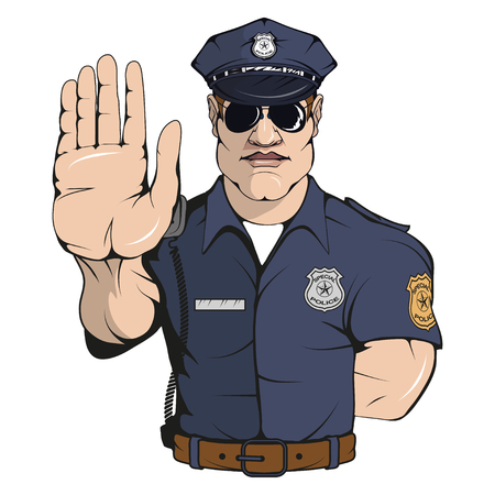 policía, posición, vector, ilustración