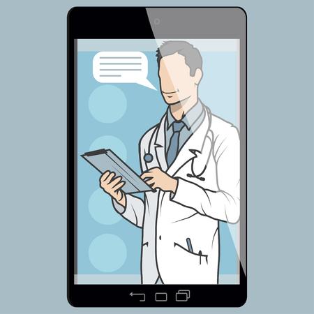 illustrazione di vettore del medico in linea