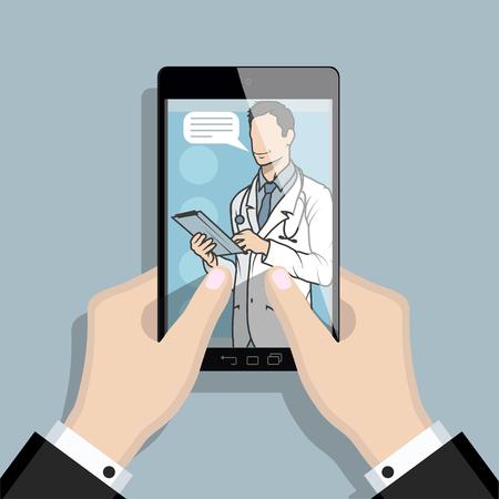 medico in linea, consulenza e supporto in linea, emblema della medicina mobile, icona, simbolo, illustrazione, vettore, medico in linea, concetto medico, servizio sanitario Internet, grafica vettoriale da progettare.