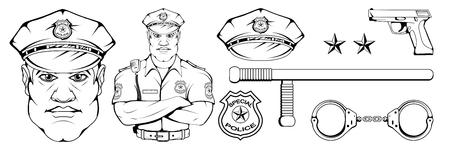 policía de pie en una pose diferente, arma, oficial de policía en uniforme, logotipo de oficial, sombrero de oficial, pistola, personaje de policía profesional, pistola, gráficos vectoriales para diseñar. Logos