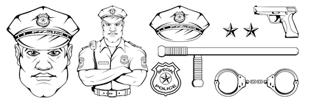 policeman standing in a different pose, weapon, police officer in uniform, officer logo, officer hat, gun, professional police character, handgun, vector graphics to design. Logo