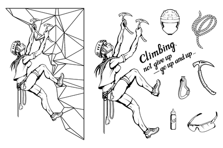 alpinist slogan with girl, woman mountaineer, alpine climbing, alpinism, mountaineering, alpinist girl character, climb concept, hand drawn lettering, mountaineering logo, vector graphics to design Illustration
