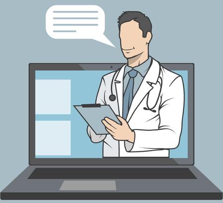medico in linea, consulenza e supporto in linea, emblema della medicina mobile, icona, simbolo, illustrazione, vettore, medico in linea, concetto medico, servizio sanitario Internet, grafica vettoriale da progettare Vettoriali