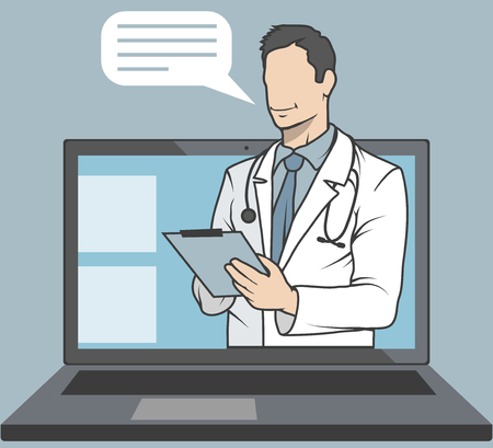 Online-Arzt, Online-Beratung und Support, Mobile Medicine Emblem, Symbol, Symbol, Illustration, Vektor, Online-Arzt, medizinisches Konzept, Internet-Gesundheitsdienst, Vektorgrafiken zu entwerfen Vektorgrafik
