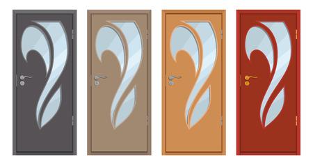 puerta de madera coloreada, aislada sobre fondo blanco, puerta de madera realista, ilustración en color de un diseño de puerta diferente, elemento interior o exterior de la oficina, diseño de la habitación, gráficos vectoriales para diseñar.