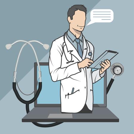 medico in linea, consulenza e supporto in linea, emblema di medicina mobile, icona, simbolo, illustrazione, vettore, medico in linea, concetto medico, servizio sanitario Internet, grafica vettoriale da progettare. Vettoriali