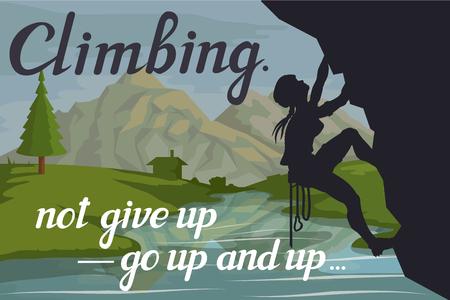 Alpinist slogan with girl, woman mountaineer, alpine climbing