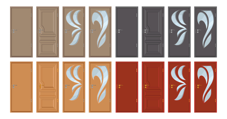colored wooden door, isolated on white background, realistic wooden door, color illustration of different door design, office interior or exterior element, room design, vector graphics to design.  イラスト・ベクター素材