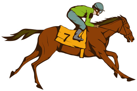 Horse racing. Jockey on racing horse running to the finish line. Race course.