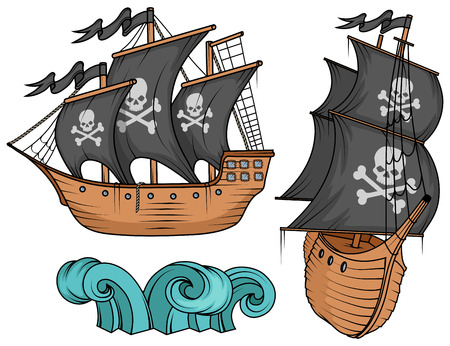 pirate ship or boat illustration, isolated on white background, cartoon sea pirate ship, sailing ship at sea, vector graphic to design Illustration
