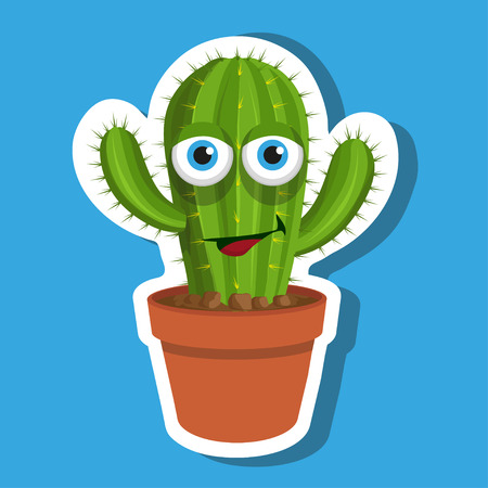 vector cactus sticker cactus plant in pot, desert plants, flower pot with leaf isolated on white background, prickly cactus plant, simple pattern, vector graphic to design Ilustrace