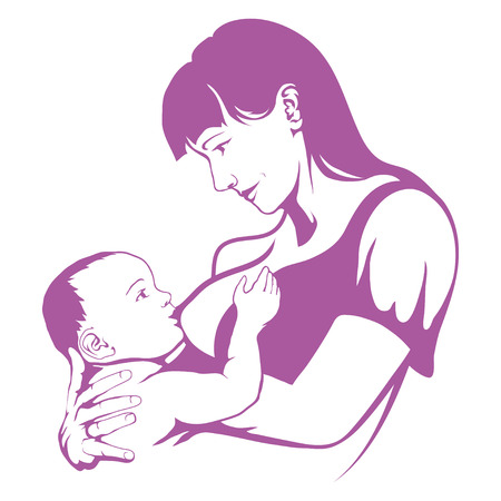 breastfeeding mother, baby feeding breast milk, breastfeeding logo