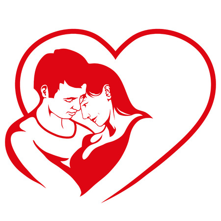 man and women in love, couple in love, Happy Valentine`s Day, couple love logo Stock Illustratie