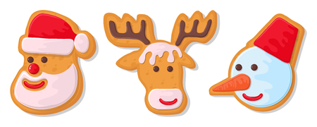Set of christmas cookies. Set of different gingerbread cookies for christmas. New Year gingerbread in the form of Christmas characters. Different new year characters. Homemade baking. Bakery products.  イラスト・ベクター素材