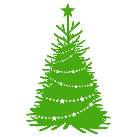 Christmas tree isolated on white background. New Years holiday. Christmas fir-tree. Winter character fir-tree. Christmas tree. Winter celebration. Fir-tree dressed in winter clothes. New Years tree.