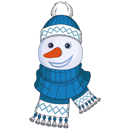 Christmas snowman isolated on white background. New Years holiday. Christmas snowman. Winter character head. New year characters. Winter celebration. Snowman dressed in winter clothes. New Year