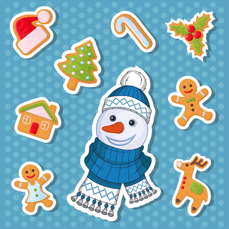Christmas sticker. Set of different sticker for christmas. New Year. Different new year characters. Colorful cartoon sticker. New Year characters of Christmas sticker. Christmas design element.
