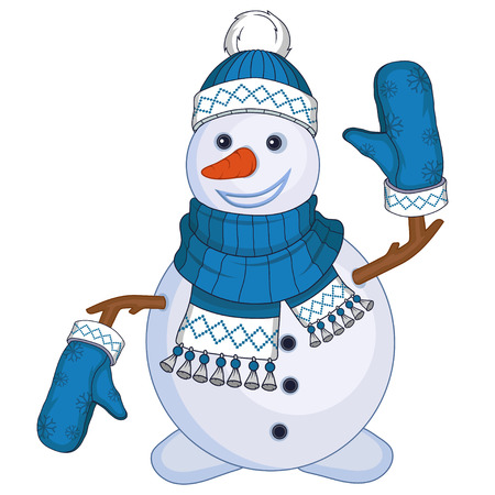 Christmas snowman isolated on white background. New Year's holiday. Christmas snowman. Winter character head. New year characters. Winter celebration. Snowman dressed in winter clothes. New Year