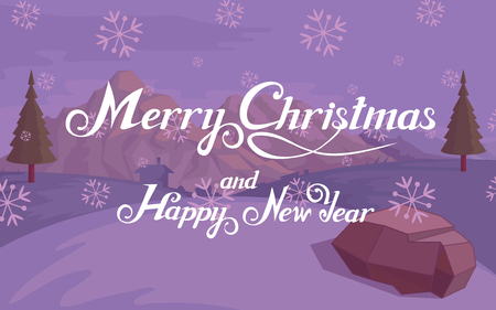 Merry Christmas and Happy New Year hand lettering. New Year vector design for greeting card. New Years holiday. Lettering with winter landscape. Greeting card with lettering. Winter celebration. Ilustração