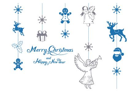 Christmas decoration isolated on white background. New Year holiday. Christmas decoration. Winter celebration. Christmas decoration elements for design. New Year elements for decor  イラスト・ベクター素材
