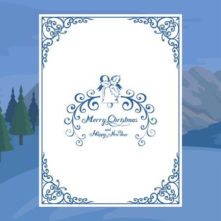 Christmas card isolated on white background. New Year holiday. Christmas greeting card. Winter celebration. Christmas card for design with hand written lettering. New Year elements for decor  イラスト・ベクター素材
