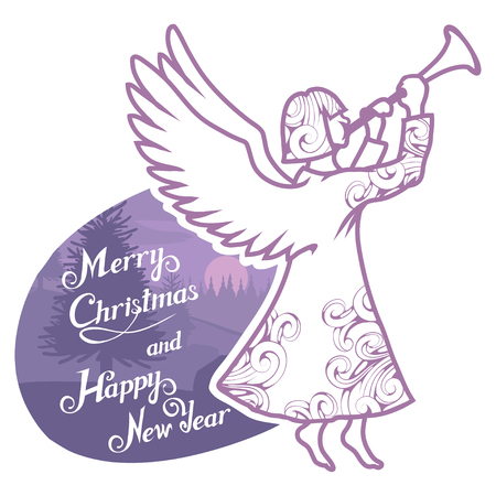 Christmas angel isolated on white background. New Year's holiday. Christmas angel. Winter character head. Funny christmas character. Winter celebration. Angel dressed in winter clothes. New Year angel. Illustration