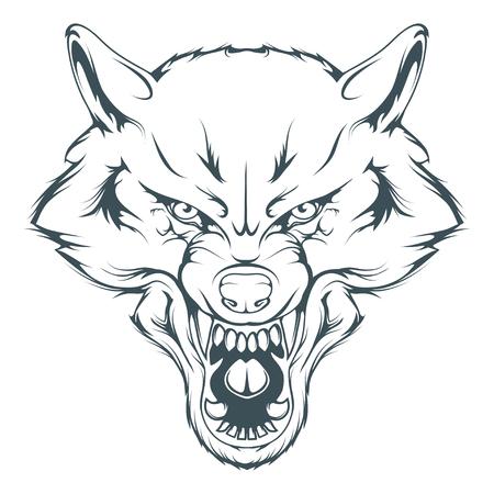 Wolfskopf-Vektorzeichnung, Wolfsgesichts-Zeichnungsskizze, Wolfskopf in Schwarz und Weiß, Vektorgrafiken zum Gestalten Vektorgrafik