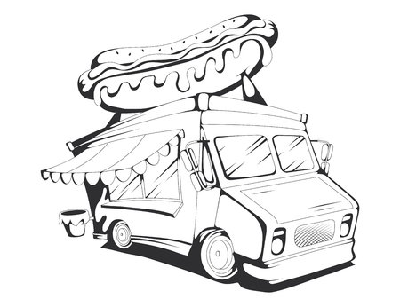 food truck vector drawing, food truck drawing sketch with hot dog on the roof, food truck in black and white, vector graphics to design