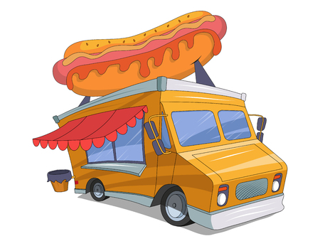 food truck drawing sketch with hot dog on the roof, food truck colored drawing, vector graphics to design Illustration