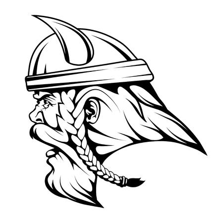 Head Viking warrior in combat helmet graphics to design