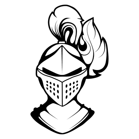 knight head vector drawing, knight face drawing sketch, knight head in black and white, vector graphics to design