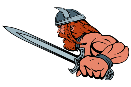 colored viking warrior with a sword in his hand Illustration