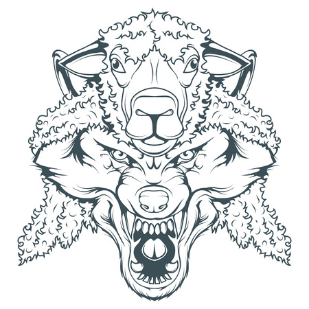 wolf in sheeps clothing, vector graphic to design