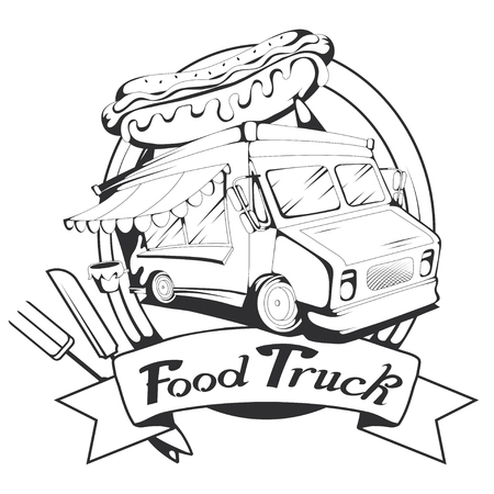 fast food truck graphic to design Illustration
