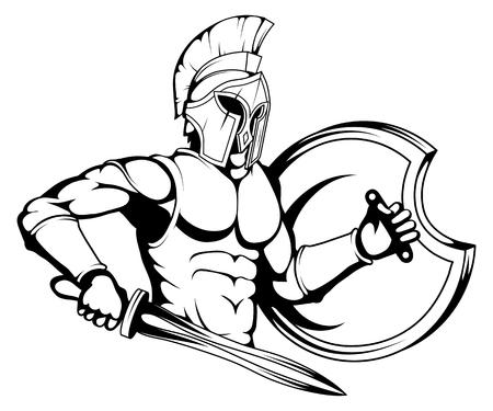 römischer oder spartanischer Krieger, spartanischer oder römischer Krieger mit Rüstung und Schwert, spartanischer Krieger in Schwarzweiß, Vektorgrafiken zum Gestalten Vektorgrafik