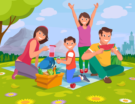 happy family on a picnic in nature outside the city, vector graphics to design