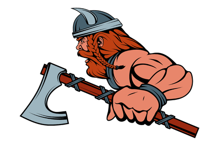 colored viking warrior with a traditional battle ax in his hand