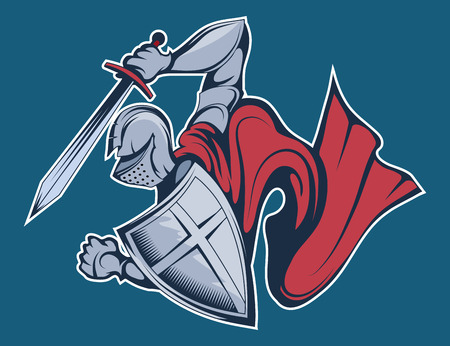 colored knight warrior in armor and with a sword and shield in his hand. vector graphic to design