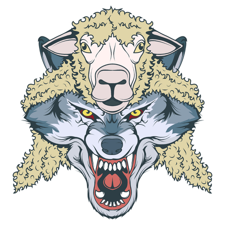 wolf in sheep's clothing, wolf mascot.  イラスト・ベクター素材