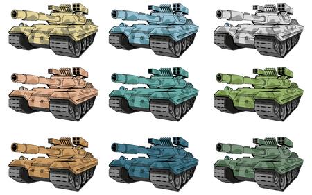 Conjunto de tanques de batalla, diferentes tipos de tanques de camuflaje, dibujo coloreado de tanques de batalla. gráfico vectorial para diseñar