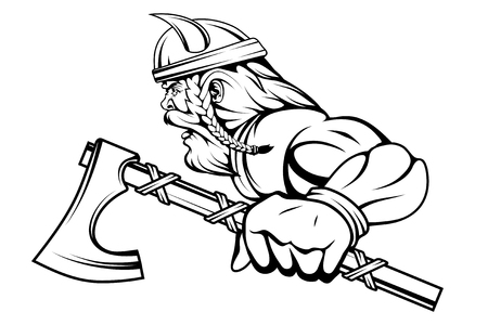 viking warrior with a traditional battle ax in his hand, suitable team mascot. vector graphic to design Illustration