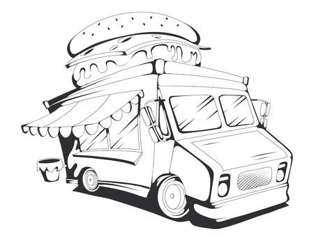 fast food truck. Vector graphics to design. Illustration