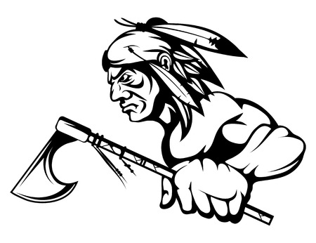 indian chief with an ax in his hand. Vector graphics to design. Illustration