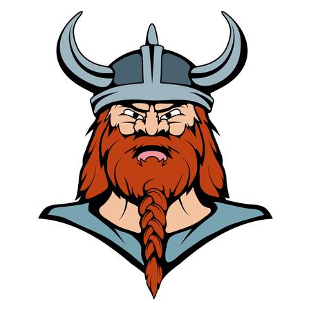 Viking Mascot Graphic, viking head suitable as team mascot, viking warrior in combat helmet, vector graphic to design Illustration