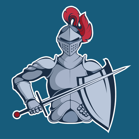 Knight Mascot Graphic, knight warrior in armor and with a sword in his hand, suitable as  team mascot, vector graphic to design