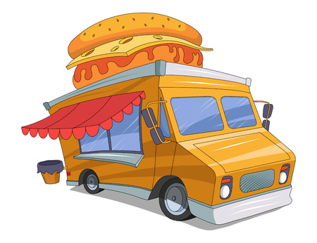 Fast Food Truck vector drawing, food truck drawing sketch with hamburger on the roof graphic to design Illustration