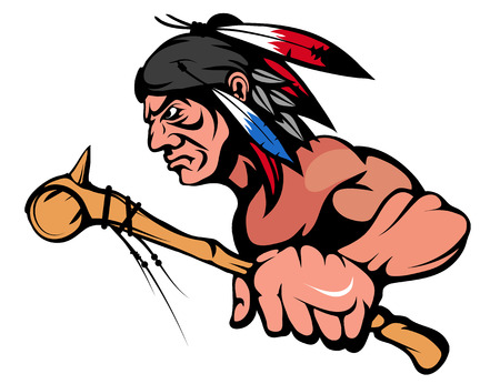 American Indian Chief Mascot Graphic, indian warrior with a traditional weapon, indian chief suitable as team mascot, american native chief with battle mace in hand Vektoros illusztráció